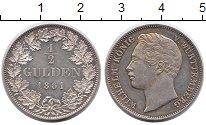 Изображение Монеты Германия Вюртемберг 1/2 гульдена 1861 Серебро XF