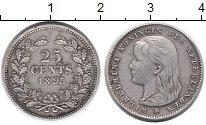 Изображение Монеты Нидерланды 25 центов 1895 Серебро XF Вильгельмина