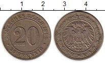 Изображение Монеты Европа Германия 20 пфеннигов 1892 Медно-никель XF