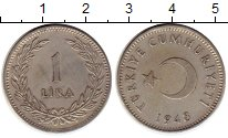 Изображение Монеты Азия Турция 1 лира 1948 Серебро XF