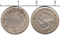 Изображение Монеты Цейлон 10 центов 1897 Серебро XF