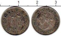 Изображение Монеты Цейлон 10 центов 1893 Серебро VF