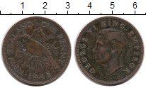 Изображение Монеты Новая Зеландия 1 пенни 1945 Медь VF Птица, Георг VI