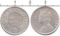 Изображение Монеты Индия 1/4 рупии 1897 Серебро XF Королева Виктория