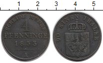 Изображение Монеты Германия Пруссия 4 пфеннига 1853 Медь XF