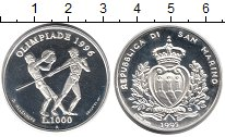 Изображение Монеты Сан-Марино 1000 лир 1996 Серебро Proof- Олимпиада 1996