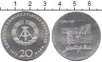 Изображение Монеты ГДР 20 марок 1975 Серебро UNC- Себастьян Бах