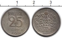 Изображение Монеты Швеция 25 эре 1953 Серебро XF-