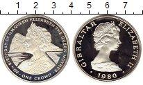 Изображение Монеты Гибралтар 1 крона 1980 Серебро Proof- 80 лет королеве-мате