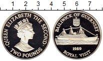 Изображение Монеты Гернси 2 фунта 1989 Серебро Proof Королевский визит