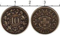 Изображение Монеты Швейцария 10 рапп 1873 Серебро XF-