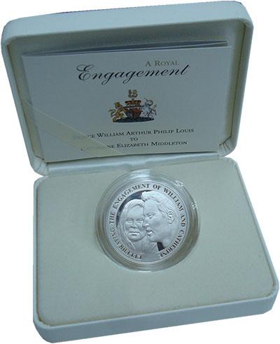 Изображение Подарочные монеты Великобритания Олдерни Свадьба принца Вильяма 2010 Серебро Proof-
