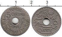 Изображение Монеты Африка Тунис 5 сантим 1918 Медно-никель XF
