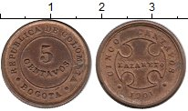 Изображение Монеты Южная Америка Колумбия 5 сентаво 1901 Медь XF