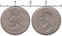 Изображение Монеты Европа Великобритания 6 пенсов 1952 Медно-никель XF