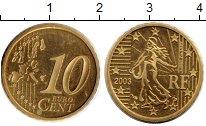 Изображение Монеты Европа Франция 10 евроцентов 2003 Латунь Proof-