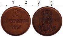 Изображение Монеты Германия Ганновер 2 пфеннига 1851 Медь XF