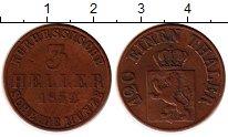 Изображение Монеты Гессен-Кассель 3 геллера 1852 Медь XF-