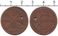 Изображение Монеты Швеция 1/4 скиллинга 1821 Медь VF