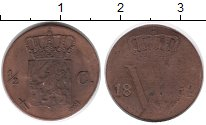 Изображение Монеты Нидерланды 1/2 цента 1862 Медь VF