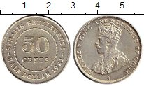 Изображение Монеты Великобритания Стрейтс-Сеттльмент 50 центов 1921 Серебро XF