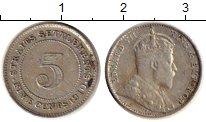Изображение Монеты Стрейтс-Сеттльмент 5 центов 1910 Серебро VF Эдуард VII