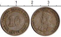 Изображение Монеты Стрейтс-Сеттльмент 10 центов 1918 Серебро VF
