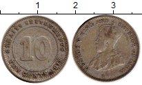 Изображение Монеты Великобритания Стрейтс-Сеттльмент 10 центов 1918 Серебро XF