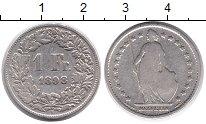 Изображение Монеты Швейцария 1 франк 1898 Серебро VF