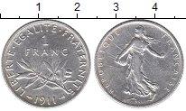 Изображение Монеты Европа Франция 1 франк 1911 Серебро XF