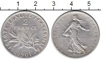 Изображение Монеты Франция 2 франка 1901 Серебро XF