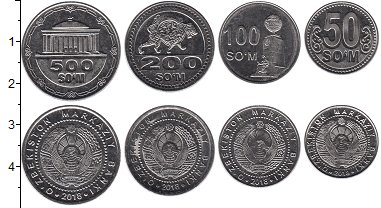 Изображение Наборы монет Узбекистан Набор 2018 года 2018 Сталь UNC