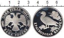 Изображение Монеты Россия 1 рубль 1994 Серебро Proof- Краснозобая казарка