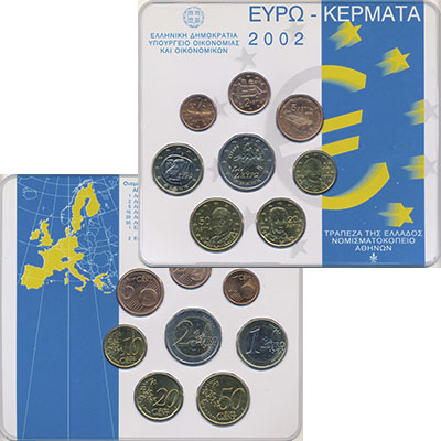Изображение Подарочные монеты Греция Евронабор 2002 года 2002  UNC