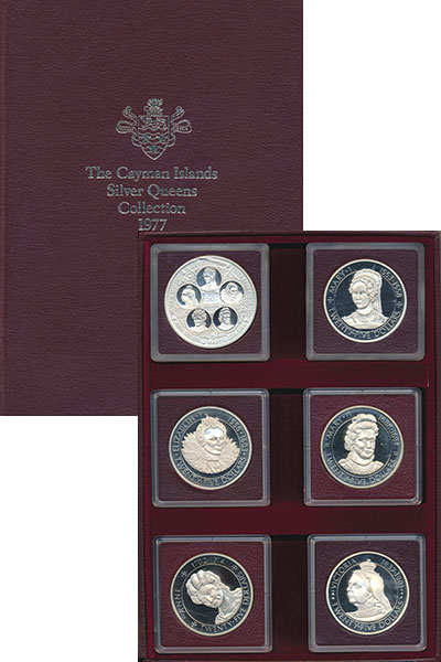Изображение Подарочные монеты Каймановы острова Английские королевы 1977 Серебро Proof