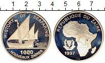 Изображение Монеты Заир 1000 заиров 1997 Серебро Proof-