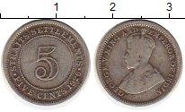 Изображение Монеты Стрейтс-Сеттльмент 5 центов 1926 Серебро XF-