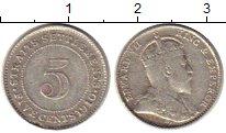 Изображение Монеты Стрейтс-Сеттльмент 5 центов 1910 Серебро XF- Эдуард VII