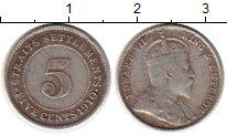 Изображение Монеты Великобритания Стрейтс-Сеттльмент 5 центов 1910 Серебро XF-