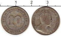 Изображение Монеты Стрейтс-Сеттльмент 10 центов 1910 Серебро XF- Эдуард VII