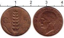 Изображение Монеты Италия 5 сентесим 1930 Латунь XF Виктор Эммануил III