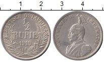 Изображение Монеты Германия Немецкая Африка 1/2 рупии 1910 Серебро XF+