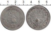 Изображение Монеты Тунис 4 пиастра 1878 Серебро XF Надчеканка. КМ# 168