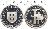 Изображение Монеты Португалия 100 эскудо 1990 Серебро Proof- 350 - летие  независ
