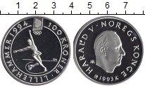 Изображение Монеты Норвегия 100 крон 1993 Серебро Proof Олимпиада 94.  Фигур