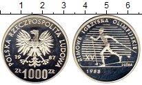Изображение Монеты Польша 1000 злотых 1987 Серебро Proof Олимпийские игры,лыж