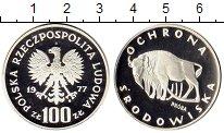 Изображение Монеты Польша 100 злотых 1977 Серебро Proof Охранав  дикой  прир