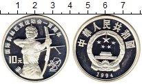 Изображение Монеты Китай 10 юаней 1994 Серебро Proof- Олимпийские игры, ст