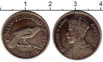 Изображение Монеты Новая Зеландия 6 пенсов 1936 Серебро XF