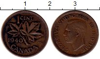 Изображение Монеты Канада 1 цент 1940 Бронза XF